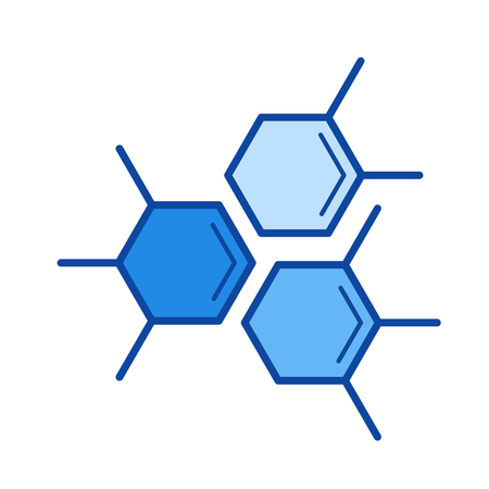 Molecular structure vector line icon isolated on white background. Molecular structure line icon for infographic, website or app. Blue icon designed on a grid system.