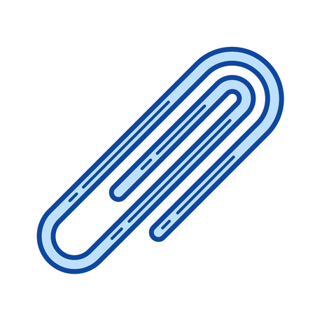 Paper clip vector line icon isolated on white background. Paper clip line icon for infographic, website or app. Blue icon designed on a grid system.