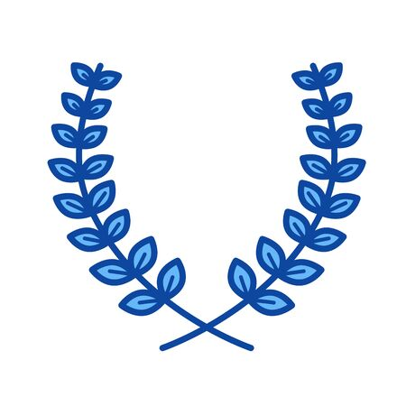 Laurier takken vector lijn pictogram geïsoleerd op een witte achtergrond. Laurier takken lijn pictogram voor infographic, website of app. Blauw pictogram ontworpen op een rastersysteem. Stock Illustratie