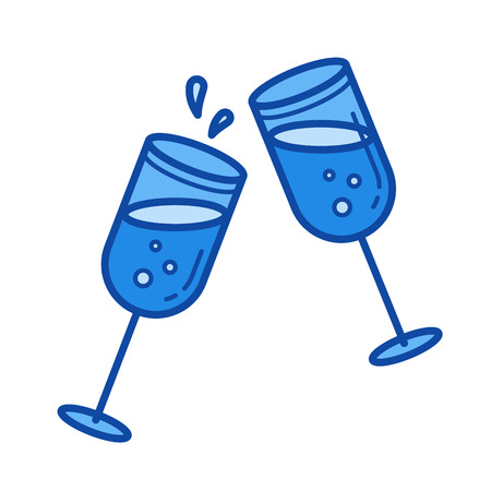 Champagne glasses vector line icon isolated on white background. Champagne glasses line icon for infographic, website or app. Blue icon designed on a grid system.