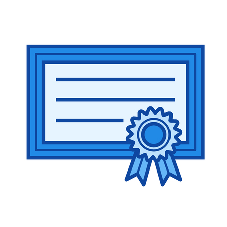 school bills: Graduation certificate vector line icon isolated on white background. Graduation certificate line icon for infographic, website or app. Blue icon designed on a grid system.