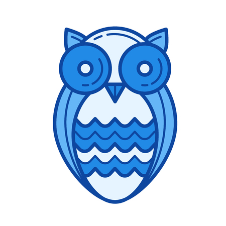 知恵フクロウ ベクトル線のアイコンが白い背景に分離されました。インフォ グラフィック、ウェブサイトまたはアプリ青の知恵フクロウ ライン ア