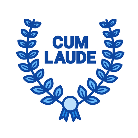 Laurel wreath cum laude line icon isolated on white background. Laurel wreath line icon for infographic, website or app. Blue icon designed on a grid system.