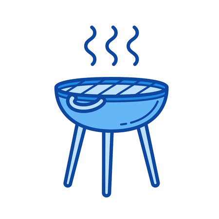 BBQ grill vector line icon isolated on white background. BBQ grill line icon for infographic, website or app. Blue icon designed on a grid system.