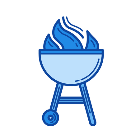 Charcoal grill vector line icon isolated on white background. Charcoal grill line icon for infographic, website or app. Blue icon designed on a grid system.
