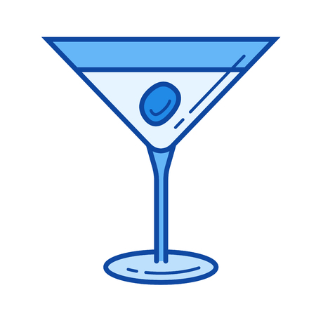gin: Martini vector line icon isolated on white background. Martini line icon for infographic, website or app. Blue icon designed on a grid system.