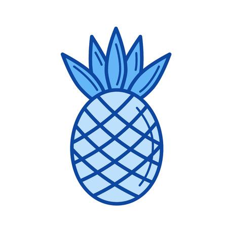 Pineapple vector line icon isolated on white background. Pineapple line icon for infographic, website or app. Blue icon designed on a grid system. Illustration