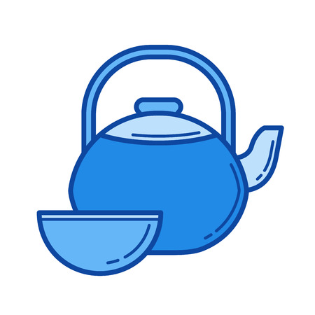 Tea ceremony vector line icon isolated on white background. Tea ceremony line icon for infographic, website or app. Blue icon designed on a grid system. Illustration
