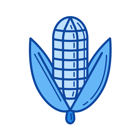 Corn ear vector line icon isolated on white background. Corn ear line icon for infographic, website or app. Blue icon designed on a grid system.