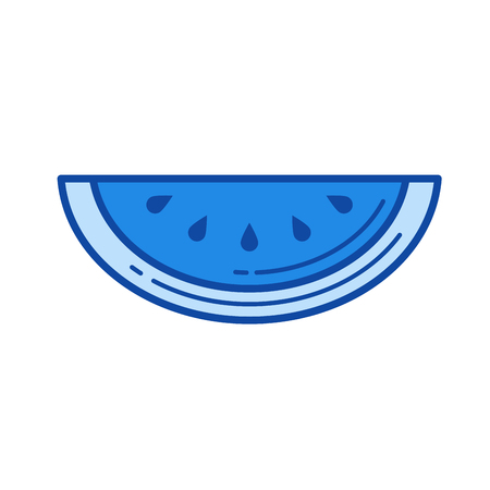 Watermelon vector line icon isolated on white background. Watermelon line icon for infographic, website or app. Blue icon designed on a grid system. Stock Vector - 84739866