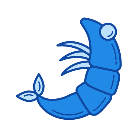 Shrimp vector line icon isolated on white background. Shrimp line icon for infographic, website or app. Blue icon designed on a grid system.