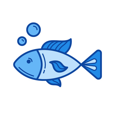 Raw fish vector line icon isolated on white background. Raw fish line icon for infographic, website or app. Blue icon designed on a grid system.