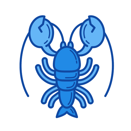 Lobster line icon for web, mobile and infographics. Vector white icon isolated on red background. Illustration