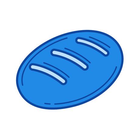 パン ベクトル線のアイコンが白い背景で隔離。インフォ グラフィック、ウェブサイトまたはアプリ ブルーのパン線アイコン アイコンのグリッド シ