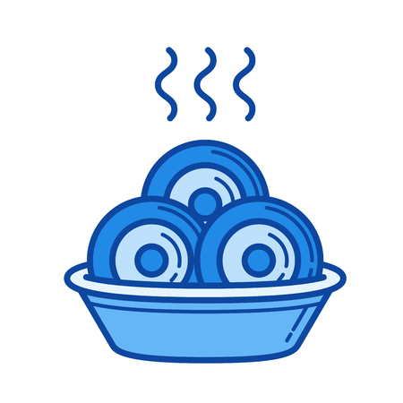 Dumplings vector line isolated icon