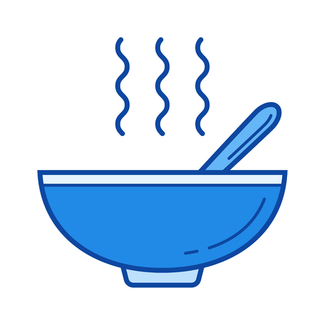 Miso soup vector line isolated icon Illustration