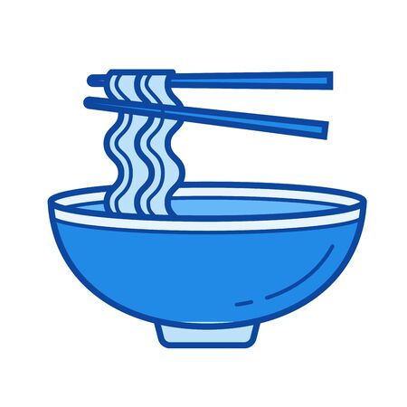 Noodle soup vector line isolated icon