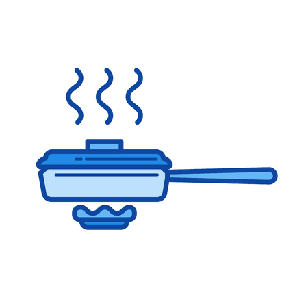 Frying pan vector line isolated icon
