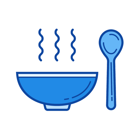 Bowl of soup vector line isolated icon Иллюстрация