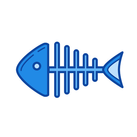 Fishbone vector line icon isolated on white background. Fishbone line icon for infographic, website or app. Blue icon designed on a grid system.