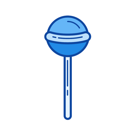 Lollipop vector line icon isolated on white background. Lollipop line icon for infographic, website or app. Blue icon designed on a grid system. Zdjęcie Seryjne - 84740190