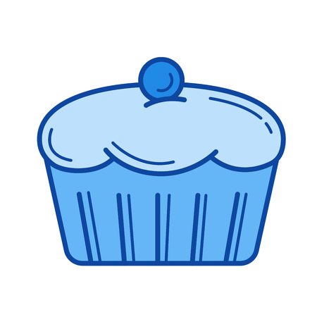 blueberry muffin: Muffin vector line icon isolated on white background. Muffin line icon for infographic, website or app. Blue icon designed on a grid system.