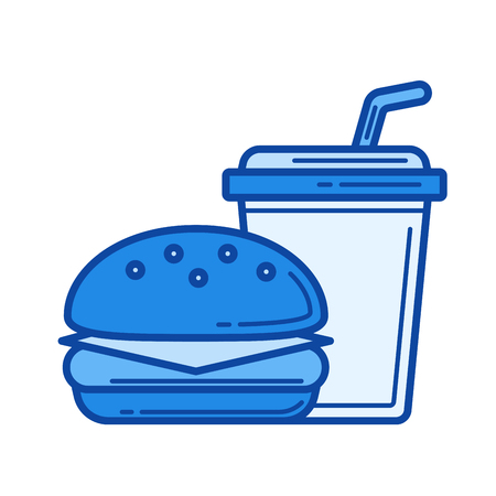Fast food takeaway vector line icon isolated on white background. Fast food takeaway line icon for infographic, website or app. Blue icon designed on a grid system.