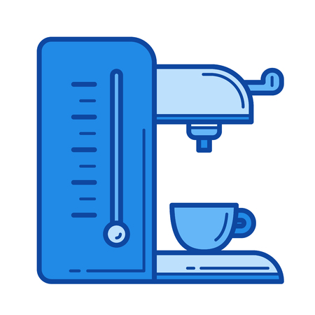 Coffee maker vector line icon isolated on white background. Coffee maker line icon for infographic, website or app. Blue icon designed on a grid system.