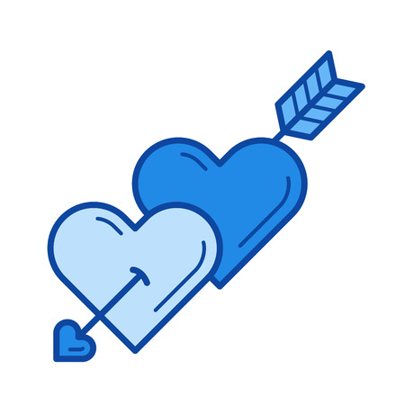 Cupid arrow vector line icon isolated on white background. Cupid arrow line icon for infographic, website or app. Blue icon designed on a grid system. Illustration