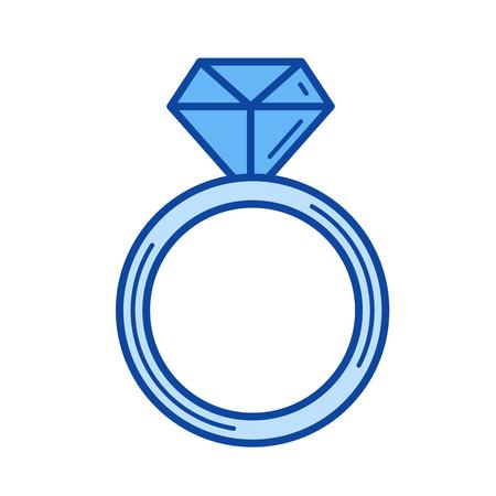 Diamond ring vector line icon isolated Иллюстрация