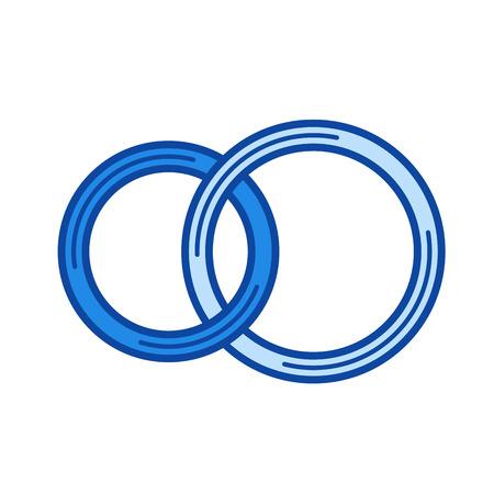 Icona di linea di vettore di fedi nuziali isolata su priorità bassa bianca. Icona della linea di fedi nuziali per infografica, sito Web o applicazione. Icona blu progettata su un sistema a griglia. Archivio Fotografico - 84740243