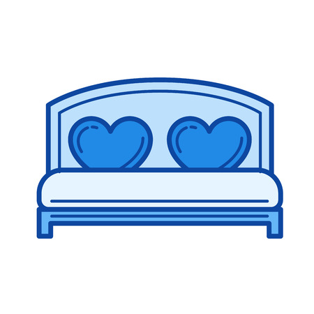 cushions: Wedding bed vector line icon isolated