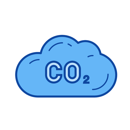 CO2 emission vector line icon isolated on white background. CO2 emission line icon for infographic, website or app. Blue icon designed on a grid system.