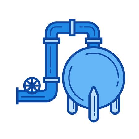 Gas refinery vector line icon isolated Ilustração