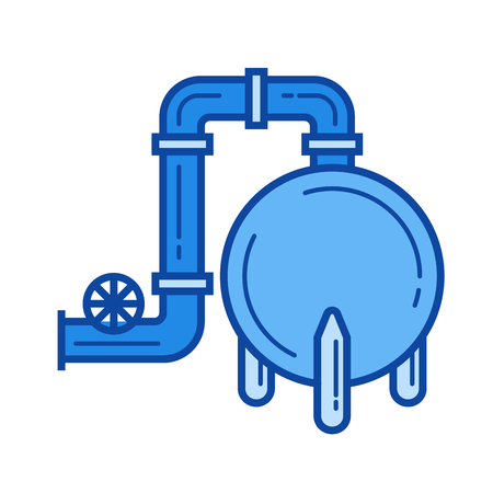 Gas refinery vector line icon isolated Illustration