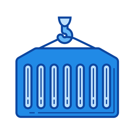 docks: Loading vector line icon isolated on white background. Loading line icon for infographic, website or app. Blue icon designed on a grid system. Illustration