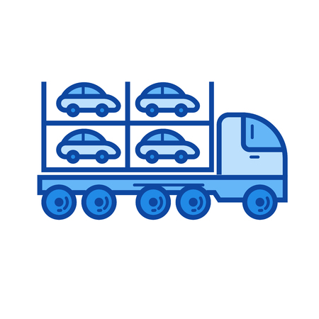 Car carrier vector line icon isolated on white background. Car carrier line icon for infographic, website or app. Blue icon designed on a grid system.
