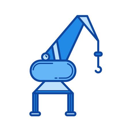 Poort kraan vector lijn pictogram geïsoleerd op een witte achtergrond. Poort kraan lijn pictogram voor infographic, website of app. Blauw pictogram ontworpen op een rastersysteem.