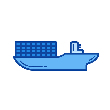Cargo ship vector line icon isolated on white background. Cargo ship line icon for infographic, website or app. Blue icon designed on a grid system.