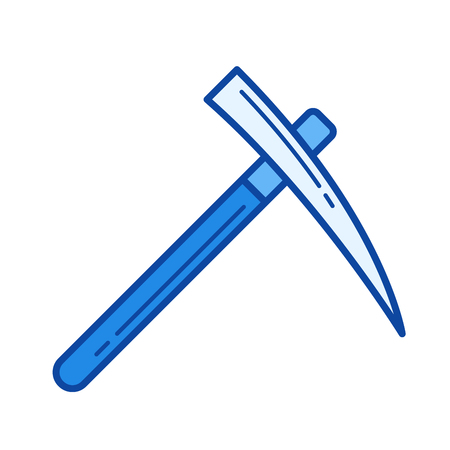 Pick axe vector line icon isolated on white background. Pick axe line icon for infographic, website or app. Blue icon designed on a grid system.