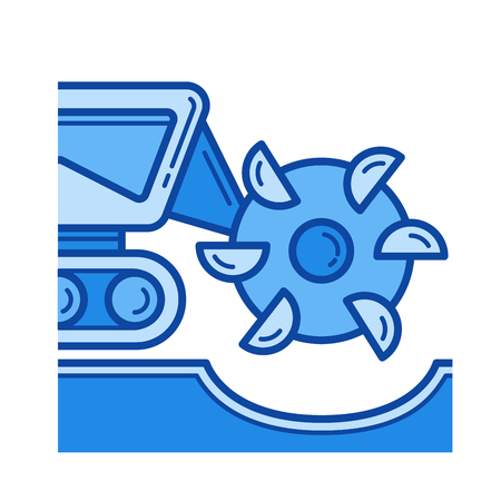 Mineral excavation vector line icon isolated on white background. Mineral excavation line icon for infographic, website or app. Blue icon designed on a grid system.