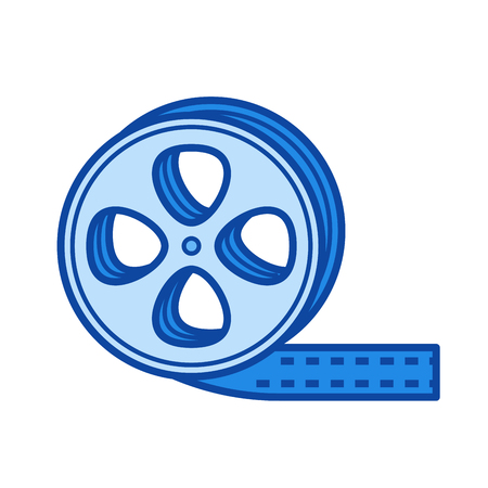 Film strip vector line icon isolated on white background. Film strip line icon for infographic, website or app. Blue icon designed on a grid system.