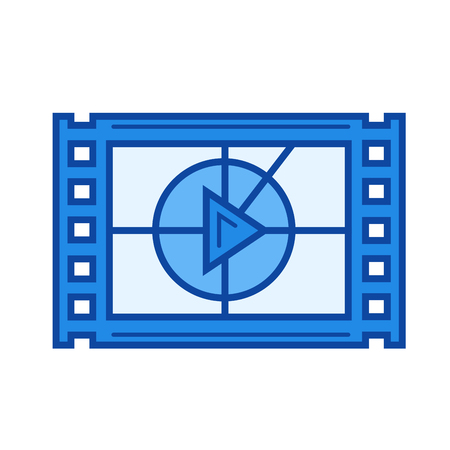film industry: Film play vector line icon isolated on white background. Film play line icon for infographic, website or app. Blue icon designed on a grid system. Illustration