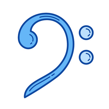 Bass clef vector line icon isolated on white background. Bass clef line icon for infographic, website or app. Blue icon designed on a grid system. Illustration