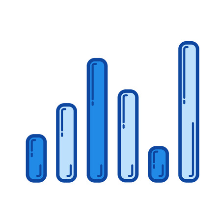 Sound level vector line icon isolated on white background. Sound level line icon for infographic, website or app. Blue icon designed on a grid system.