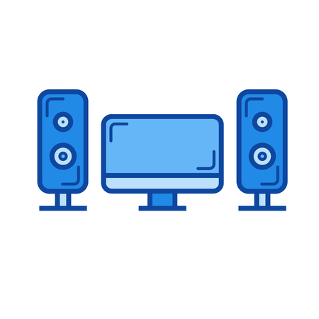 Home cinema vector line icon isolated on white background. Home cinema line icon for infographic, website or app. Blue icon designed on a grid system. Ilustração