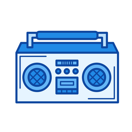 vintage boombox vector line icon isolated on white background rh 123rf com boombox speaker vector old boombox vector