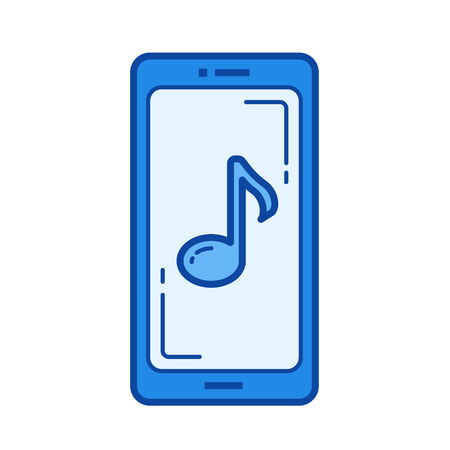 Mobile media player vector line icon isolated on white background. Mobile media player line icon for infographic, website or app. Blue icon designed on a grid system.