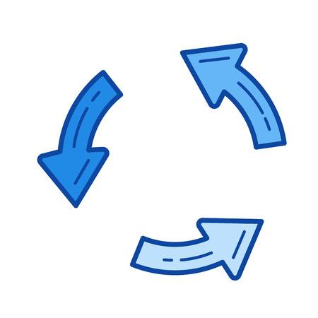 Mettre à jour l'icône de ligne de vecteur isolé sur fond blanc. Mettre à jour l'icône de la ligne pour l'infographie, le site Web ou l'application. Icône bleue conçue sur un système de grille. Banque d'images - 84741087