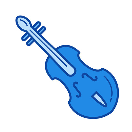 Violin vector line icon isolated on white background. Violin line icon for infographic, website or app. Blue icon designed on a grid system.
